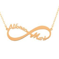 collar infinito personalizable con nombre oro 18k